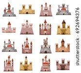 Castle Tower Icons Set. Cartoo...