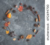 autumn composition. wreath made ... | Shutterstock . vector #692694700