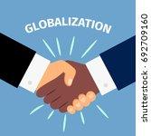 black and white shaking hands.... | Shutterstock .eps vector #692709160