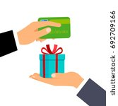 hand giving credit card and... | Shutterstock .eps vector #692709166