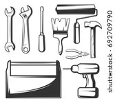 vector set of vintage hand work ...   Shutterstock .eps vector #692709790