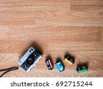 retro camera and film... | Shutterstock . vector #692715244