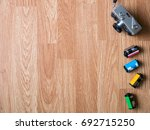 retro camera pointing at the... | Shutterstock . vector #692715250