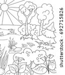 cartoon coloring book black and ...   Shutterstock . vector #692715826