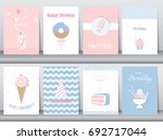set of birthday cards poster... | Shutterstock .eps vector #692717044