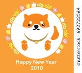 happy new year 2018 card. red... | Shutterstock .eps vector #692722564