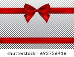 red gift bow and ribbon. | Shutterstock .eps vector #692726416