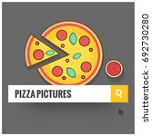 pizza in browser search bar... | Shutterstock .eps vector #692730280