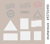 postage stamps template. blank... | Shutterstock .eps vector #692731450