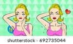pop of cartoon woman do... | Shutterstock .eps vector #692735044