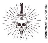 knife in skull tattoo print... | Shutterstock .eps vector #692736403