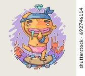 small kid on skateboard. vector ... | Shutterstock .eps vector #692746114