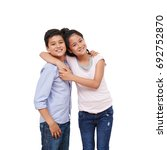 portrait of happy hugging... | Shutterstock . vector #692752870