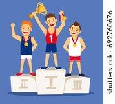 athletes winner podium. cartoon ... | Shutterstock . vector #692760676