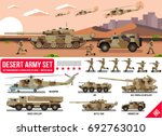 army military war set with tank ... | Shutterstock .eps vector #692763010