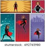 set of 5 super heroine banners.  | Shutterstock .eps vector #692765980