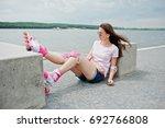 portrait of a beautiful woman... | Shutterstock . vector #692766808