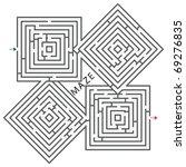 squares maze against white... | Shutterstock .eps vector #69276835