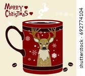 red xmas coffee cup with brown... | Shutterstock .eps vector #692774104