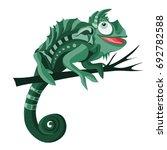 green chameleon illustration on ... | Shutterstock .eps vector #692782588