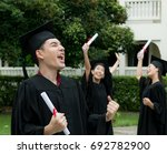 excited a man jumping in their... | Shutterstock . vector #692782900