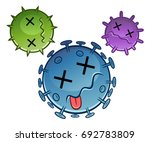 three cartoon dead viruses.... | Shutterstock .eps vector #692783809