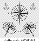 set of black compass roses or... | Shutterstock .eps vector #692785474