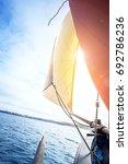 beige cotton jib sail and an... | Shutterstock . vector #692786236