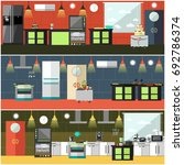 set of restaurant kitchen... | Shutterstock . vector #692786374