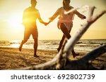 summer time on beach and golden ... | Shutterstock . vector #692802739