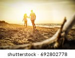 summer time on beach and golden ... | Shutterstock . vector #692802778