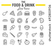 food and drink line icon set ... | Shutterstock .eps vector #692803936