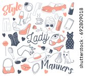 woman lifestyle freehand doodle.... | Shutterstock .eps vector #692809018