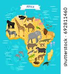 animals and birds on africa map | Shutterstock .eps vector #692811460