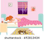 young beautiful woman lying in... | Shutterstock .eps vector #692813434