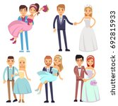 happy smiling wedding couples... | Shutterstock .eps vector #692815933