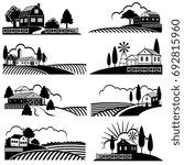 vintage countryside landscape... | Shutterstock .eps vector #692815960