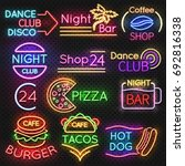 bright roadside neon signs.... | Shutterstock .eps vector #692816338