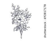 Hand Drawn Flower Bouquet In...