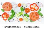 set of slices of red and green... | Shutterstock . vector #692818858