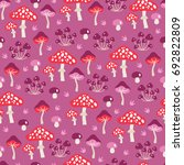 seamless pattern with mushrooms ...   Shutterstock .eps vector #692822809