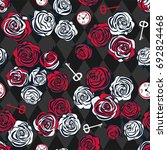 red and white roses  key and... | Shutterstock .eps vector #692824468