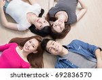 young people smile happily and... | Shutterstock . vector #692836570
