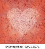 ornamented heart on grungy...