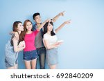 happy group student show... | Shutterstock . vector #692840209