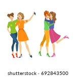 vector girl friends make selfie ... | Shutterstock .eps vector #692843500
