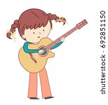 girl playing guitar isolated on ... | Shutterstock .eps vector #692851150