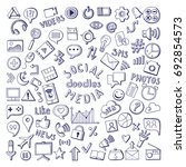 social media hand drawn icons... | Shutterstock . vector #692854573