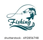 fishing emblem with pike  waves ... | Shutterstock .eps vector #692856748