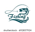 fishing emblem with catfish ... | Shutterstock .eps vector #692857924